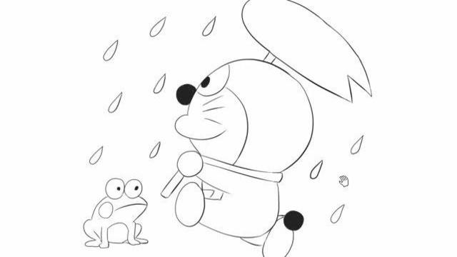 [小林简笔画]绘画动画片《机器猫》中的雨天机器猫与青蛙卡通动漫简笔