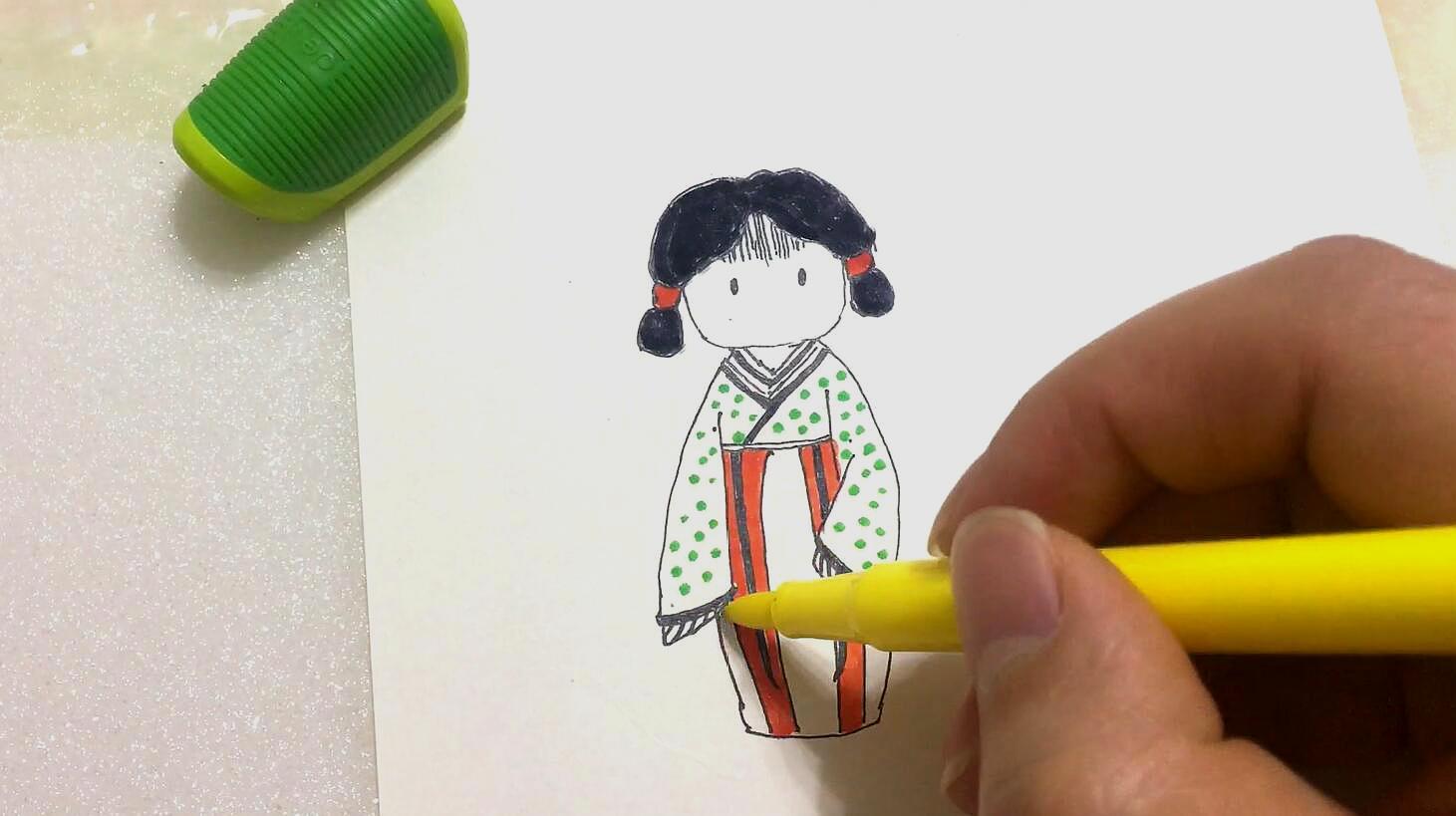 简笔画古装小美女,既简单又有趣,你会画了吗?图片