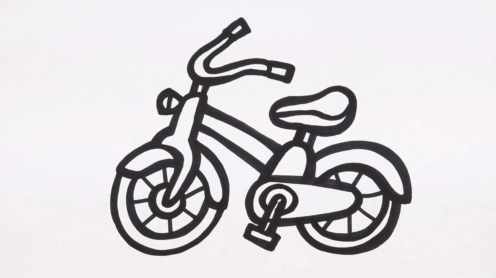 简笔画教学:自行车简笔画,小朋友一学就会
