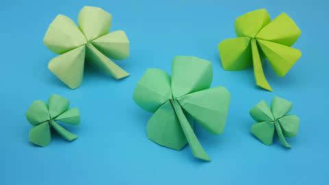 幼儿手工折纸:很简单的四叶草手工折纸  01:35  好看视频 手工达人手