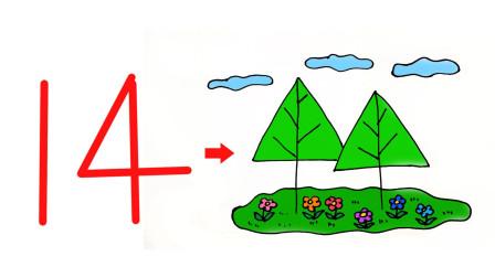 简单的卡通大树儿童亲子简笔画
