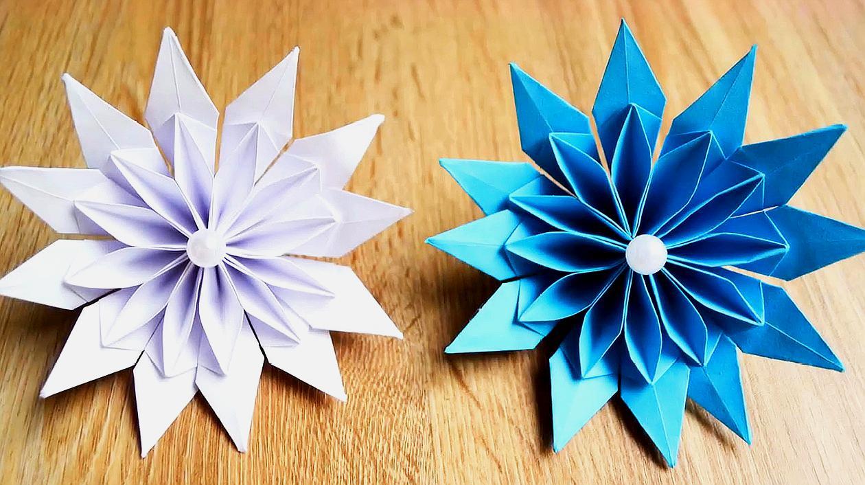 手工制作纸花大全,教你折纸一朵3d立体装饰纸花