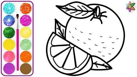 儿童彩绘画黄色的橙子幼儿简笔画