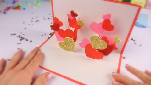 手工折紙教程,情人節diy立體愛心賀卡圖片