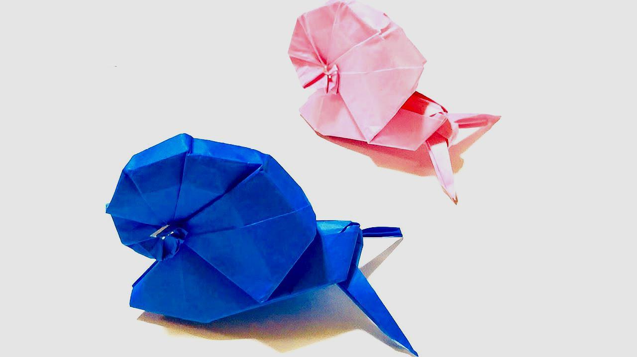 手工达人教你折纸立体蜗牛,手工折纸视频教程大全