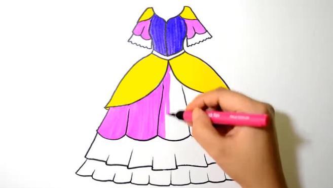 儿童基础绘画,如何画漂亮的裙子!图片