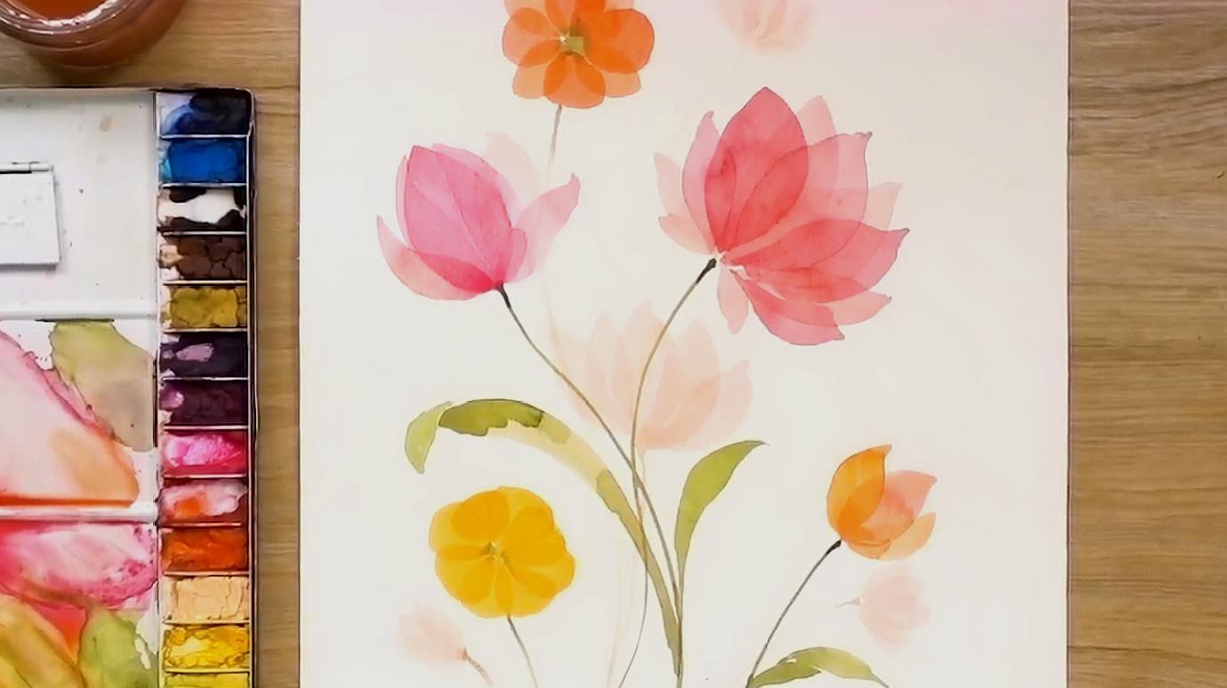 水彩畫漂亮的荷花,非常簡單適合初學者,詳細繪畫教程圖片
