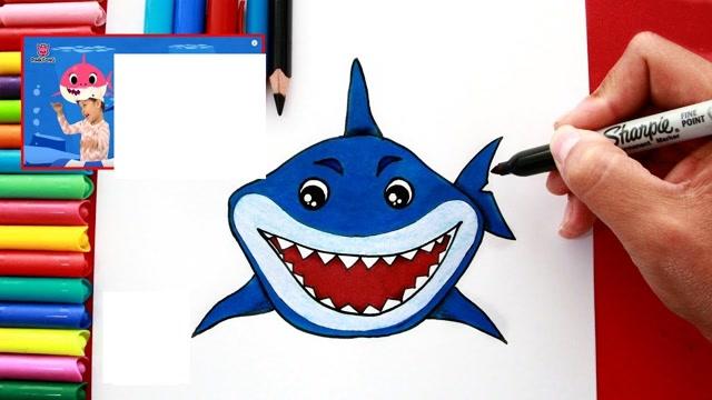 儿童简笔画,恐龙大鲨鱼