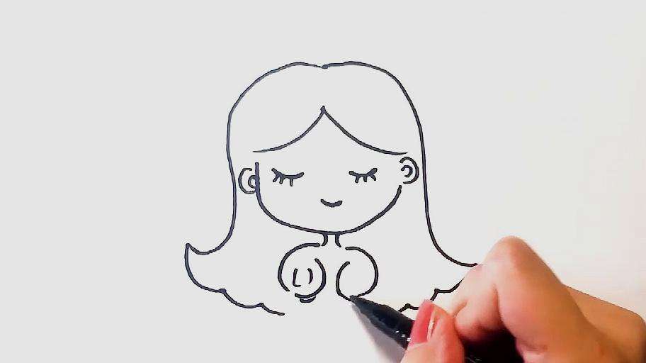 公主的画法:先勾出公主的外形轮廓,画出小圆脸,画上五官,接着画皇冠