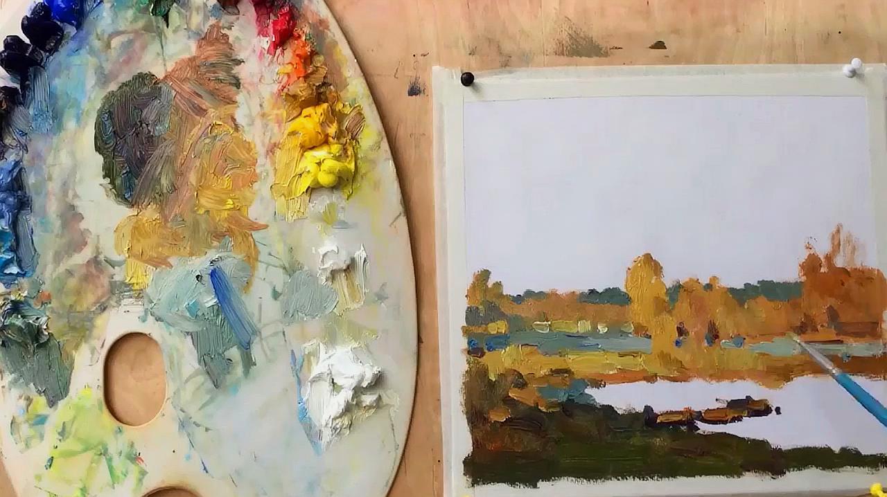 几分钟学会画画,一幅秋天的风景画,一起来学画秋天吧!