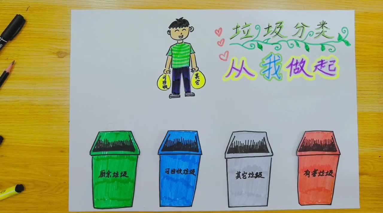 简单易学垃圾分类手抄报2 小学生