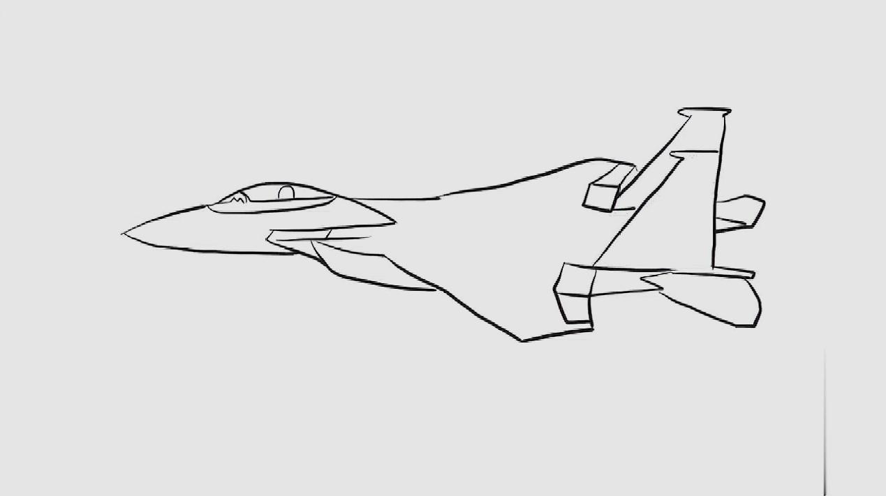 教你画歼16战斗机简笔画,既简单又好看