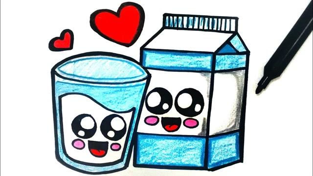 亲子简笔画:牛奶杯子画画