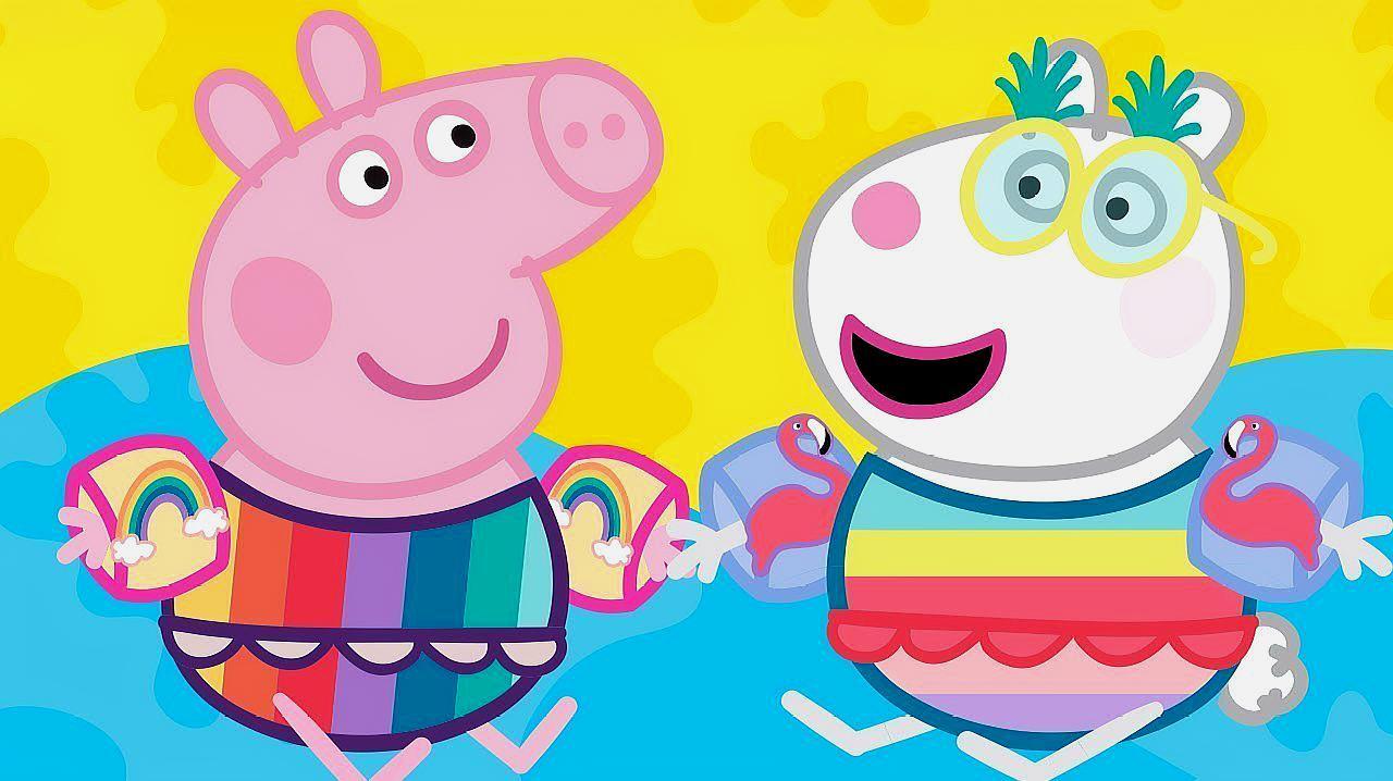 小猪佩奇和好朋友一起游泳 简笔画