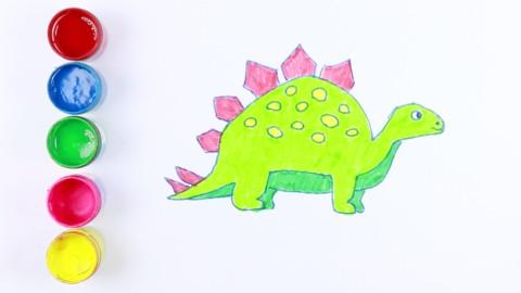 如何画可爱的恐龙 儿童绘画 七巧板 填色 儿童简笔画