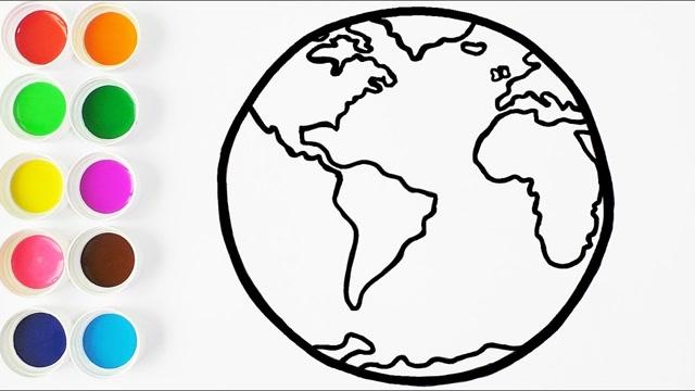 亲子简笔画:蓝色地球画画图片