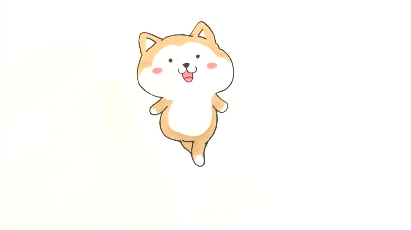 可爱小柴犬简笔画,胖嘟嘟的身材,开心的笑脸,你学会了吗?