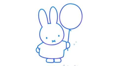 画画美术课堂:今天教小朋友画彩色米菲兔