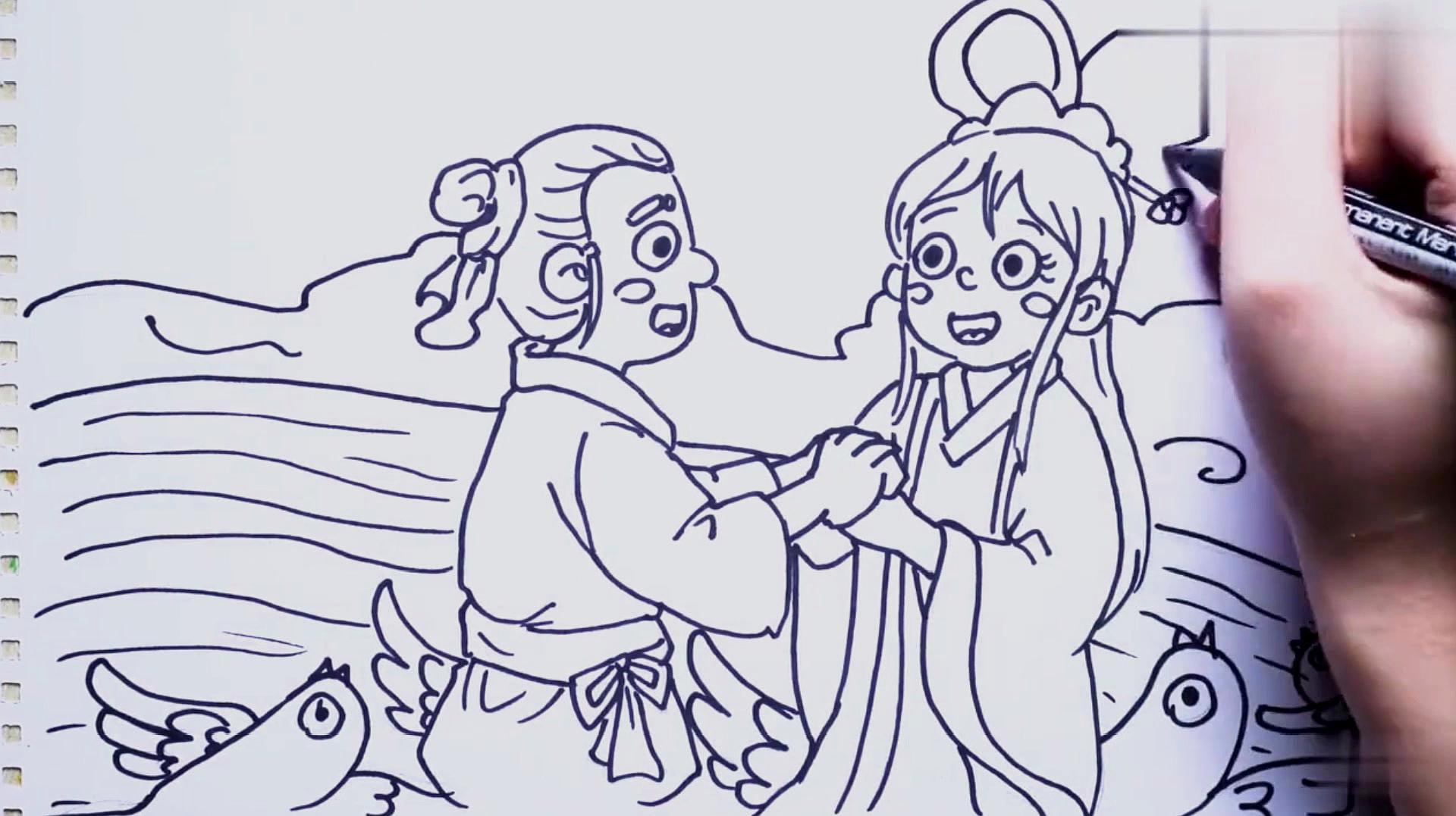 想画一幅牛郎织女的简笔画,一起来看看怎么画吧!