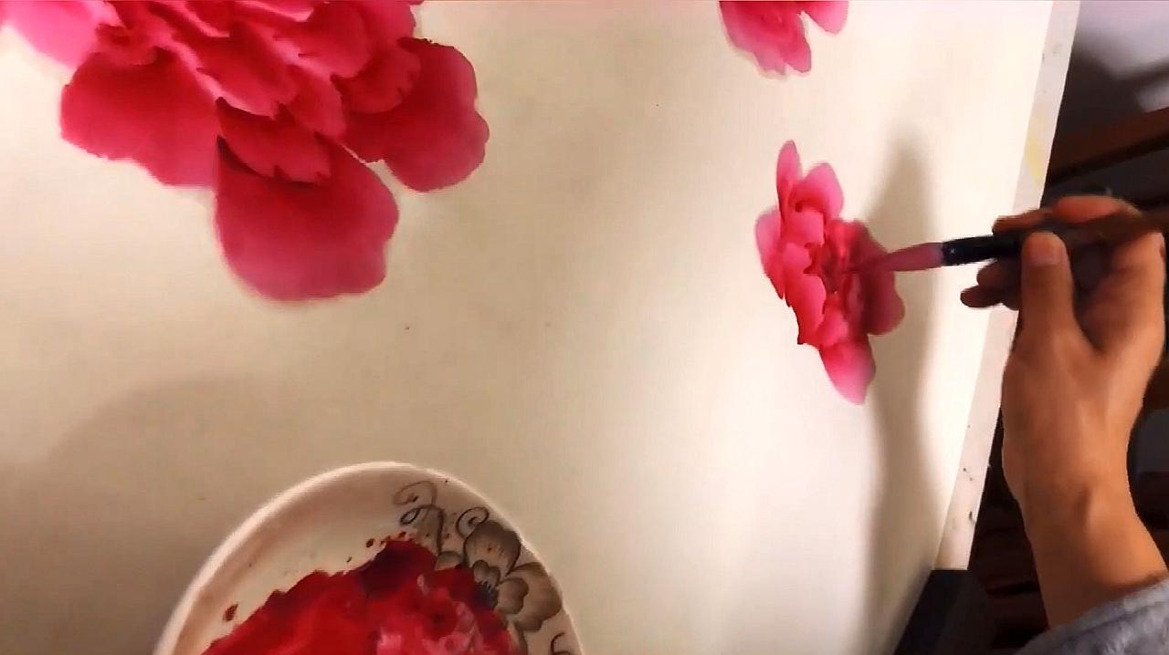 国画:牡丹花的画法展示,希望这个教学对你有帮助!