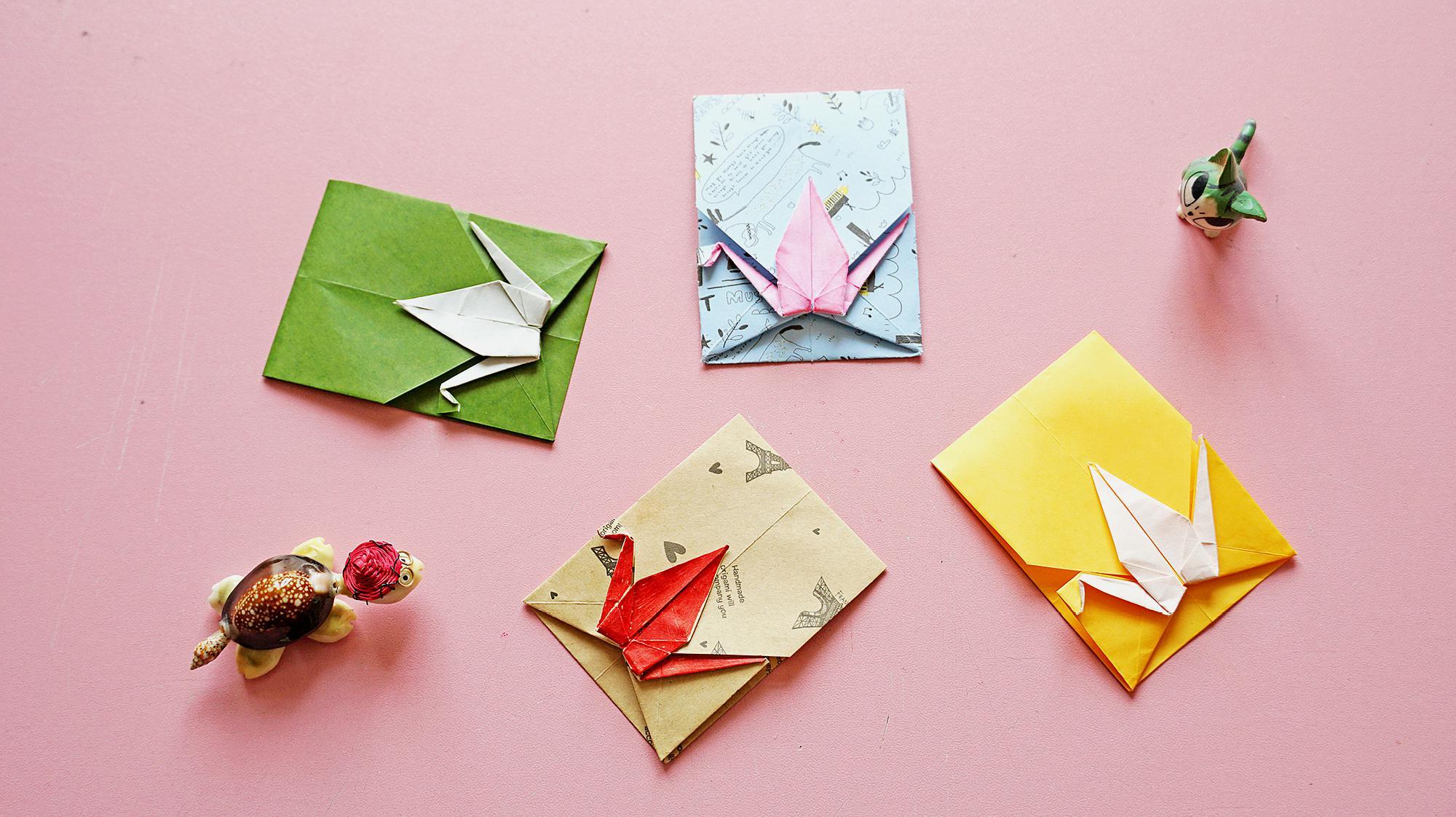 一款简单的折纸千纸鹤信封,几个步骤完成,材料只要一张纸!
