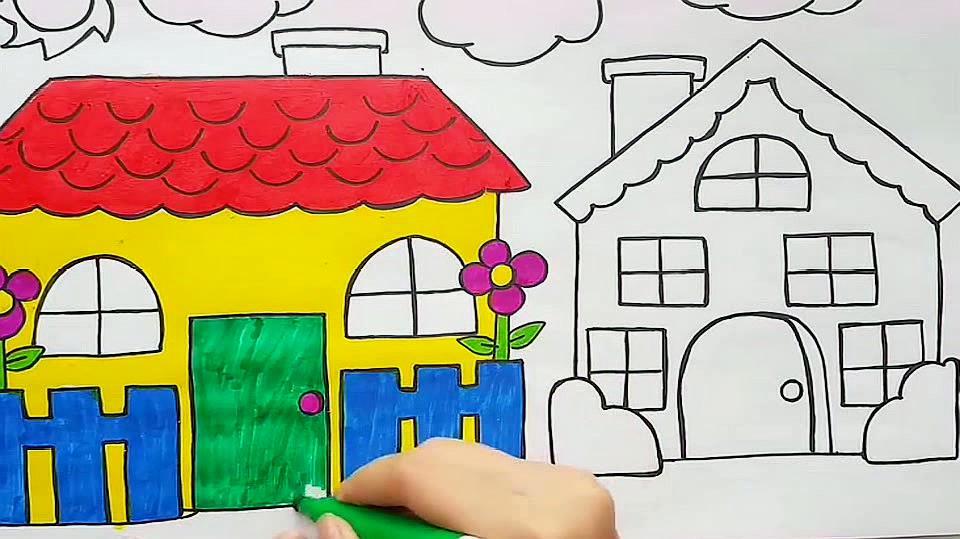 幼儿绘画:围墙栅栏简笔画,边讲故事边填色,快乐学习快乐动手!