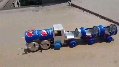 创意无限易拉罐手工diy制作玩具火车