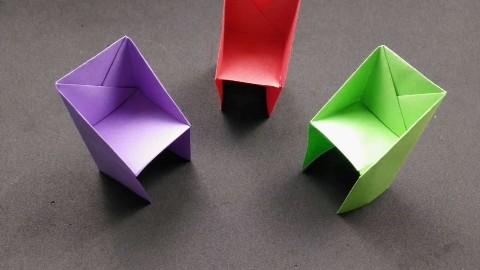 教你用一张纸折个小凳子,小朋友也能看懂,手工折纸视频教程