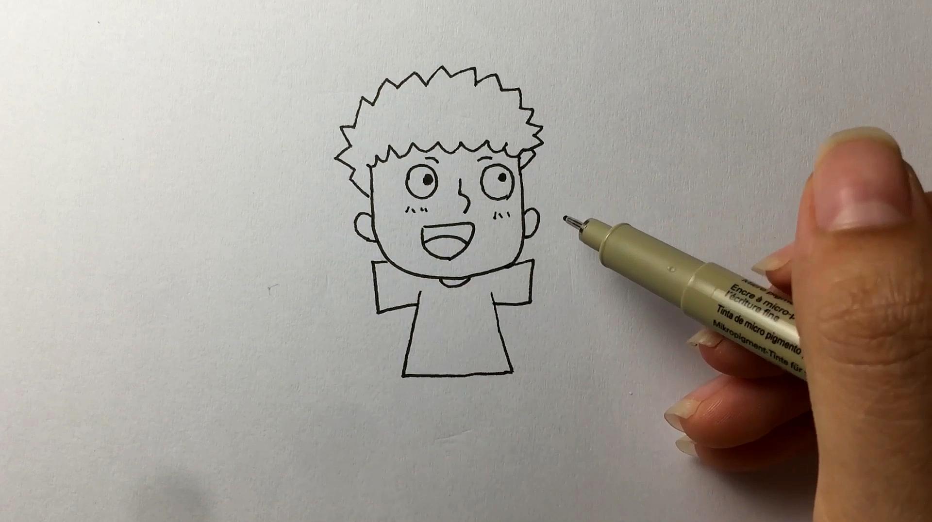 小男孩简笔画怎么画?