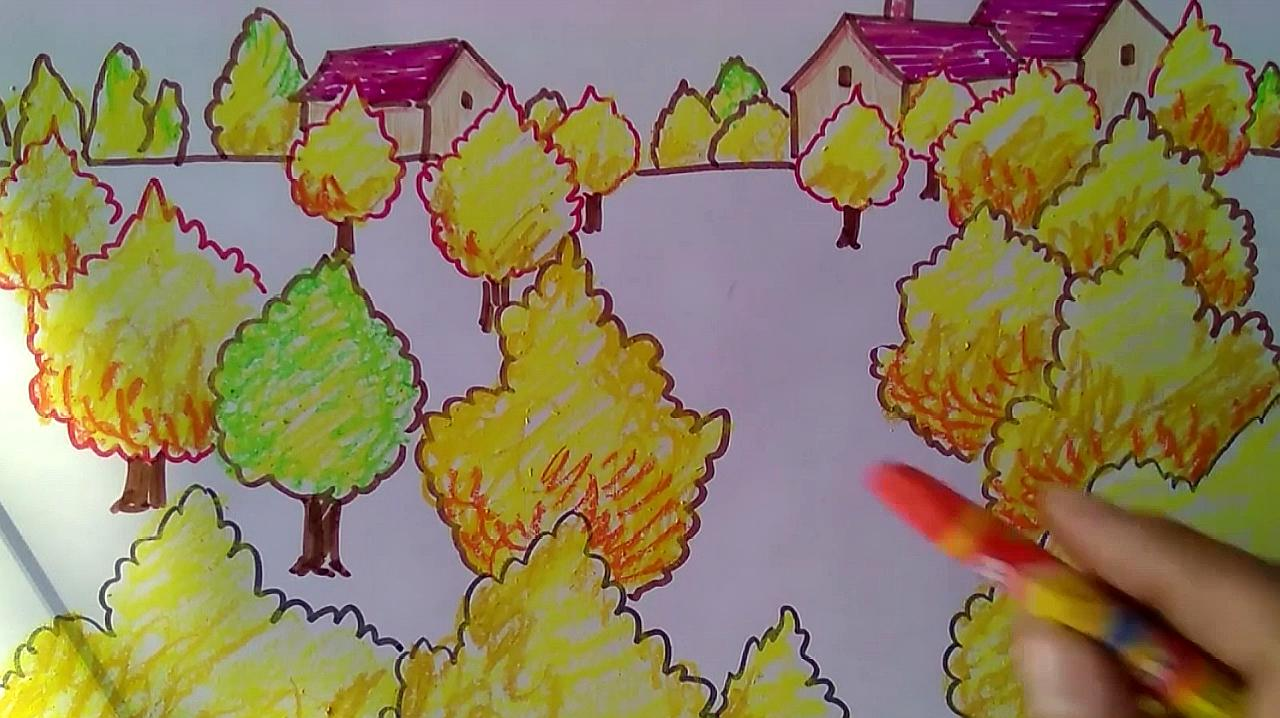 小学画秋景画,风景画秋天的景色