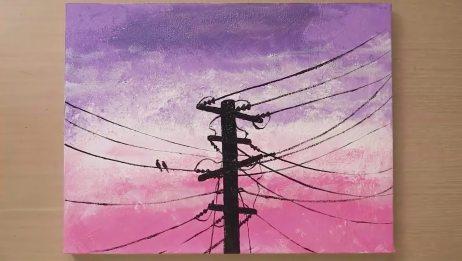 绘画教程,教你画一个普通的电线杆!