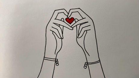 看到别划走,零基础学画画,女孩双手比心的画法