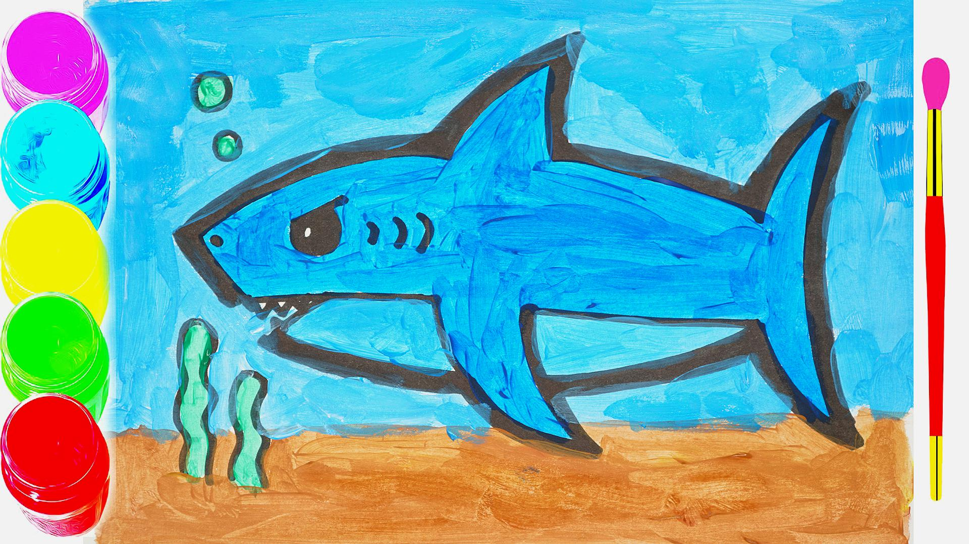 水彩鲨鱼儿童简笔画