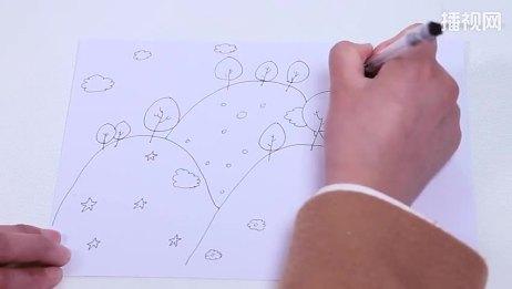 简笔画山坡上的小树 儿童画基础教程