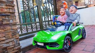 萌娃枫枫开箱兰博基尼跑车玩具!还要和嘉嘉比赛谁更快