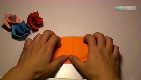 亲子折纸,纸折出来的玫瑰花也是如此漂亮,撩妹必备技能