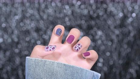 紫色磨砂绑带豹纹美甲教程