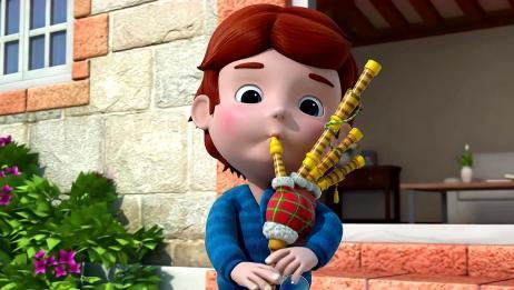 小朋友的风笛真厉害,不但能吹音乐,还能吹泡泡呢