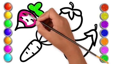 儿童宝宝学画画:简笔绘画萝卜!
