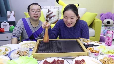 小伙花100元在家还原韩式烤肉,食材有肉有菜有海鲜,就是过瘾