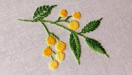 手工刺绣——四片叶子分别用了四种针法,你都认识并且学会了吗?