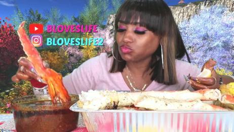 吃蟹阿姨:一大盆酱汁和一大堆帝王蟹腿,一起吃简直就是绝配