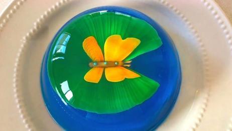 透明果冻中的蝴蝶图案,原来是这样弄的,看着好精致!