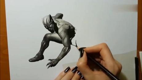 只用黑与白的3D绘画,巧妙的利用黑白与明暗,就能画出逼真的3D效果