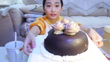 【中国吃播】吃播七七~饭前甜点巧克力奶油蛋糕,零食