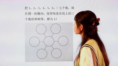 小学数学:把7个数字填在圆圈内,使得直线上的三个数的和相等
