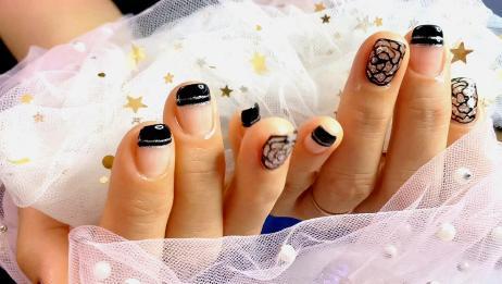 指甲断了不用怕 贴甲片 黑色镂空玫瑰美甲教程 短指甲也可以美甲