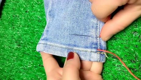 裤脚太长怎么办?不用花钱请人改,教你6个手工缝法,简单又实用