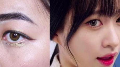 闪亮卧蚕+咬唇+长眼尾,打造一个一个韩式妆容韩国女星安希妍在MV AH YEAH中的妆容