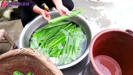 包粽子的新做法,只需要一个大盆,做出的粽子又大个又香